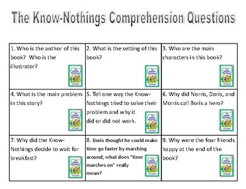 The Know-Nothings Comprehension Activites