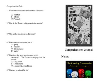 The Know Nothings Talk Turkey Comprehension Journal