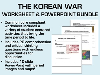 The Korean War Bundle - Worksheet and PowerPoint - USH/APUSH