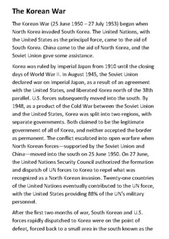 The Korean War Handout with activities