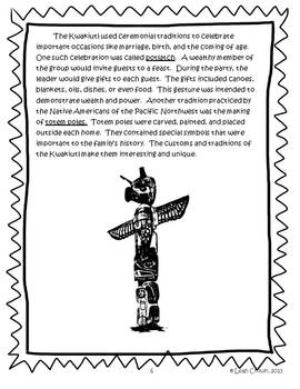 The Kwakiutl: Native Americans of the Pacific Northwest- Reading & Writing Activ