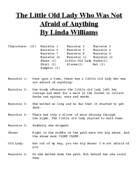 The LIttle Old Lady Who was not Afraid of Anything  Reader's Theater Script