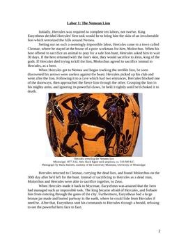 The Labors of Hercules Handout Greek Mythology
