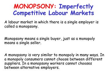 The Labour Market - Monopsony / Monopsonies Key Theory - Economics
