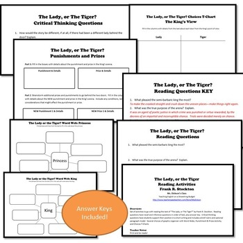 The Lady, or The Tiger? Activities Bundle (Frank Stockton) - PDF