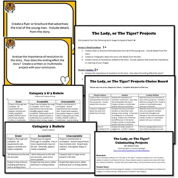 The Lady, or The Tiger? Culminating Projects (Frank Stockton)