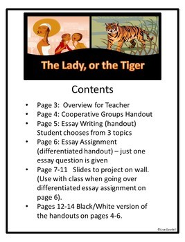 """Special Ed Differentiated Essay Lessons for """"The Lady or The Tiger?"""""""