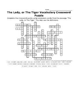 The Lady or The Tiger Vocabulary Word Crossword Puzzle