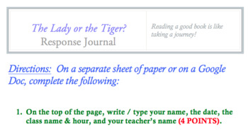 The Lady or the Tiger? Response Journal