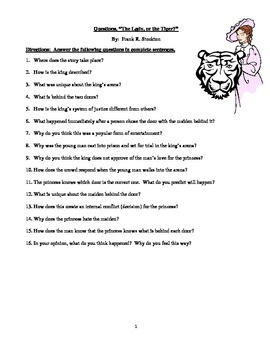 The Lady or the Tiger? Study Questions