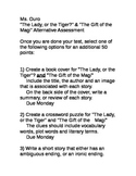 """""""The Lady or the Tiger?"""" & """"The Gift of the Magi"""" Alternative Assessment"""