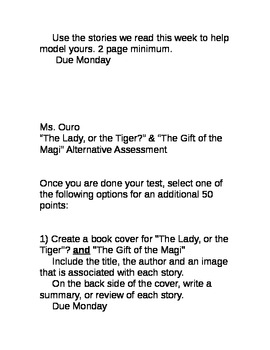 """The Lady or the Tiger?"" & ""The Gift of the Magi"" Alternative Assessment"