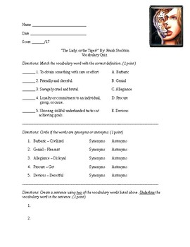 The Lady, or the Tiger Vocabulary Quiz (Adapted)