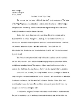 The Lady, or the Tiger Writing Assignment Example