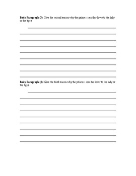 The Lady, or the Tiger Writing Assignment & Graphic Organizer (Adapted)