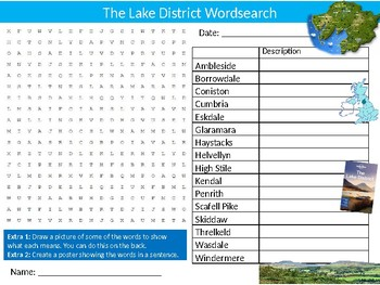 The Lake District Wordsearch Puzzle Sheet British National Park Geography