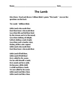 The Lamb Poem and Discussion Questions