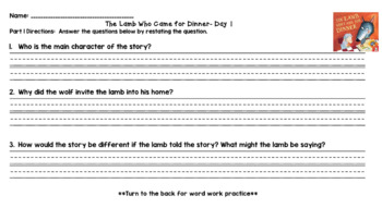 The Lamb Who Came for Dinner (Level M) Guided Reading Plan