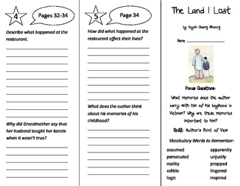 The Land I Lost Trifold - Imagine It 5th Grade Unit 1 Week 1