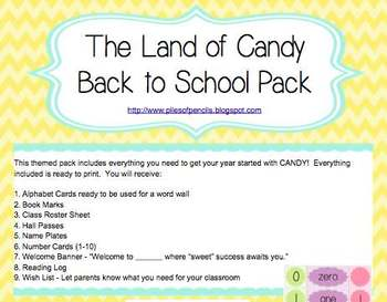 The Land of Candy Themed Beginning of Year Pack