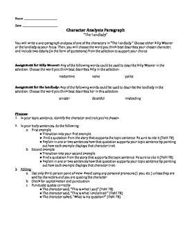 The Landlady - Character Analysis Paragraph