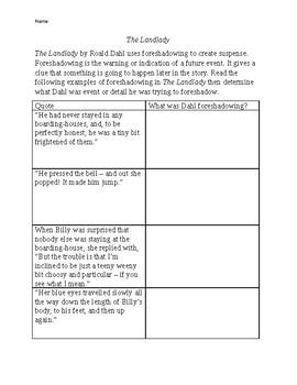landlady foreshadowing essay