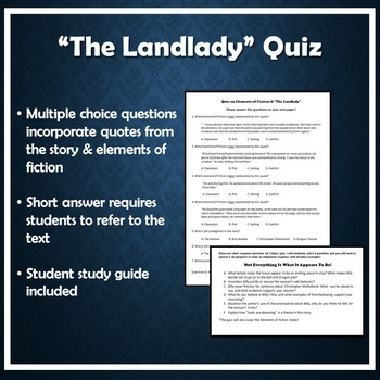 the landlady quiz by roald dahl elements of fiction tpt the landlady quiz by roald dahl elements of fiction