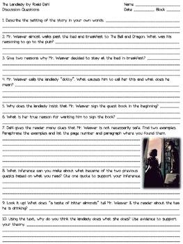 The Landlady - Short Story Mini-Unit