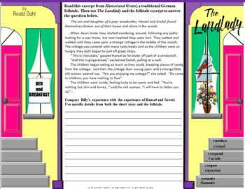 The Landlady by Roald Dahl Folding Questions and Test