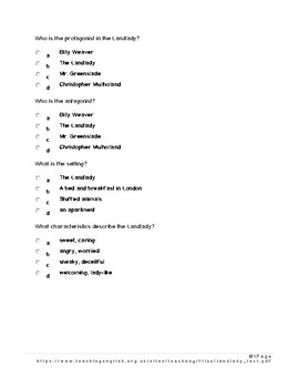 The Landlady by Roald Dahl Test with 20 multiple choice and Key