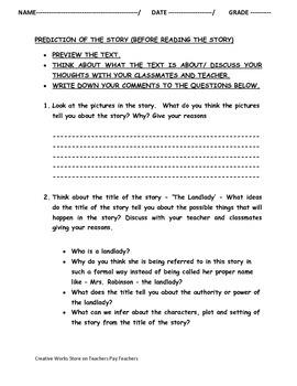 The Landlady by Roald Dahl - Quiz, Worksheets and more ( Bundled)