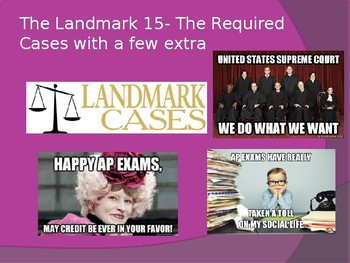 The Landmark 15 PowerPoint- AP Government Required Supreme Court Cases 2019