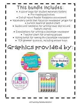 The Landry News Activities-Grammar, Writing News Articles, Assessments, & more!