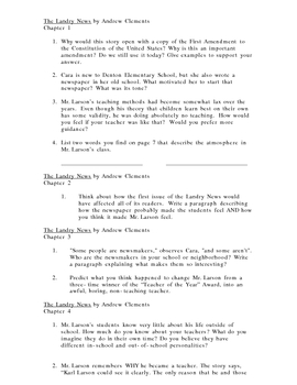 The Landry News--Reading Response Questions
