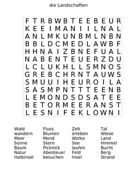 The Landscape (die Landschaften) German Word Search Puzzle with Answer Sheet