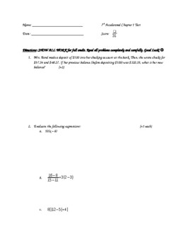 The Language of Algebra Chapter Test 7th Accelerated Math