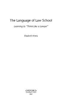 The Language of Law School