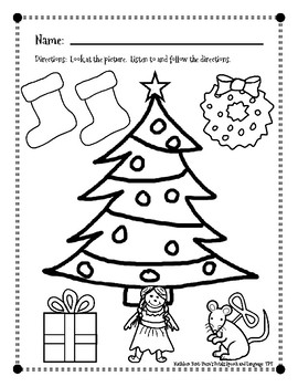The Last Christmas Tree Articulation and Language Sheets