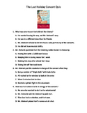 The Last Holiday Concert Comprehension Quiz