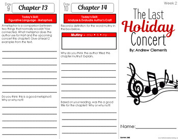 The Last Holiday Concert Foldable Novel Study Unit