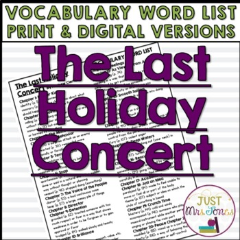 The Last Holiday Concert Vocabulary Word List