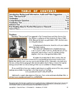 """O. Henry: """"The Last Leaf"""" Close Reading Study Guide (16 Pgs., Ans. Keys, $6)"""