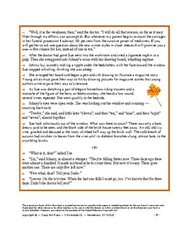 "O. Henry: ""The Last Leaf"" Close Reading Study Guide"
