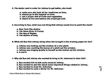 The Last Leaf  by O'Henry ( Reading Comprehension Quiz/Test)