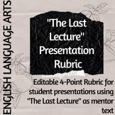 The Last Lecture Presentation Rubric