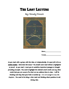 The Last Lecture- Reading Guide and Assessment