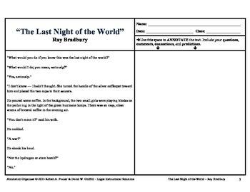 """LAST NIGHT OF THE WORLD"" by RAY BRADBURY: Annotation Organizer"