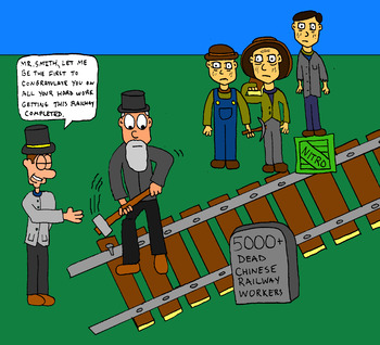 Canadian History Cartoon -The Last Spike: Canadian Pacific Railway Cartoon
