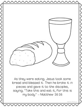 The Last Supper Coloring Page Craft or Poster, Bible Verse, Easter, Communion