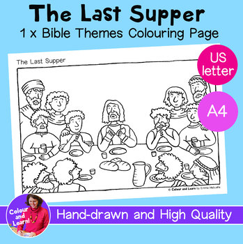 """""""The Last Supper"""" Bible Coloring Sheet/Colouring Page (Christianity/Church)"""